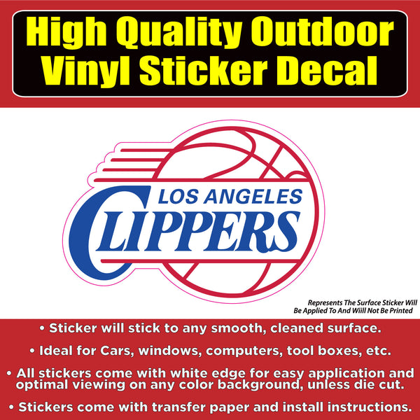 Los Angeles Clippers Basketball Vinyl Car Window Laptop Bumper Sticker Decal