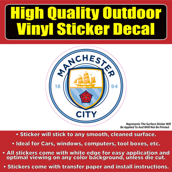 Manchester City Soccer Football Vinyl Car Window Laptop Bumper Sticker Decal