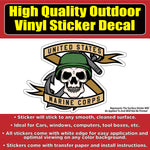 United States Marine Corps Skull Vinyl Car Window Laptop Bumper Sticker Decal