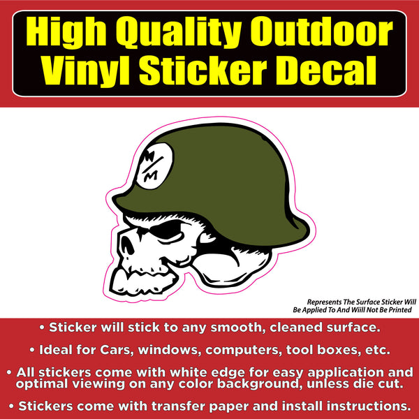 Metal Militia skull Vinyl Car Window Laptop Hard hat Bumper decal sticker
