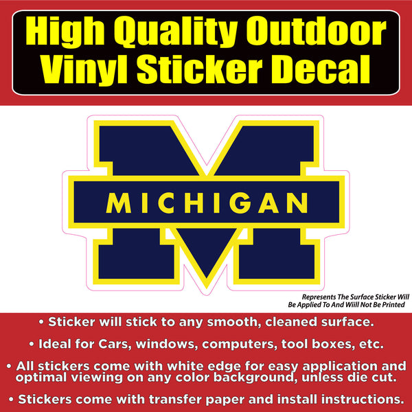 Michigan Wolverines University Vinyl Car Window Laptop Bumper Sticker Decal