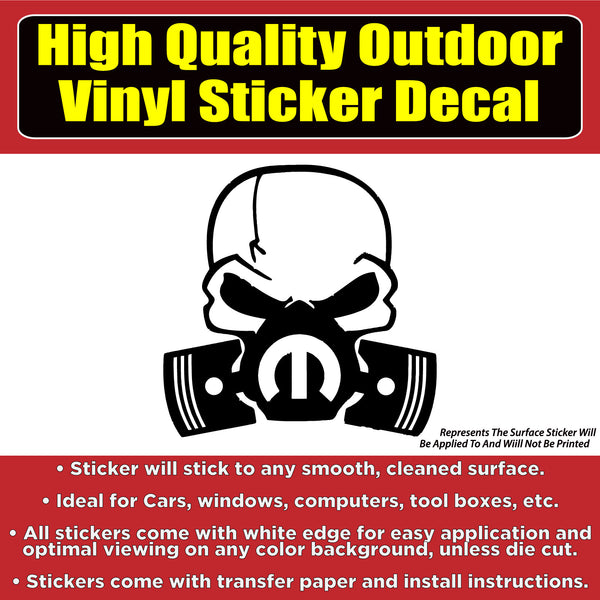 Mopar Skull Many Color Options Vinyl Car Window Laptop Bumper Sticker Decal