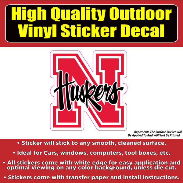 Nebraska Corn Huskers N with text Football Vinyl Car Window Laptop Bumper Sticker Decal