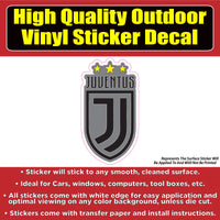 Juventus Black & Grey Soccer Football Club Vinyl Car Window Laptop Bumper Sticker Decal