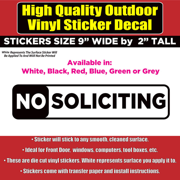 NO SOLICITING Sign Vinyl Business Home Window Door Gate Office Sticker Decal - Colorado Sticker