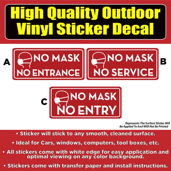 "No Mask No Entry Red 9x4"" Vinyl Business Window Door Floor Sticker Decal"