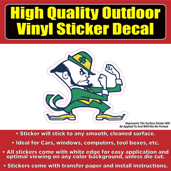 University of Notre Dame Fighting Irish Vinyl Car Window Bumper Sticker Decal