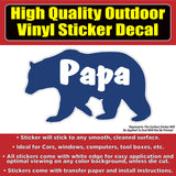 Mama and Papa Bear Vinyl Car Window Laptop Bumper Sticker Decal