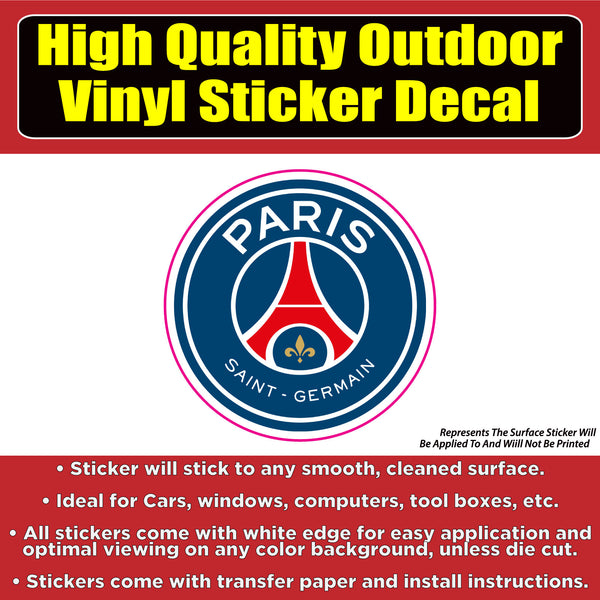 Paris Saint Germain Soccer Football Club Vinyl Car Window Laptop Bumper Sticker Decal