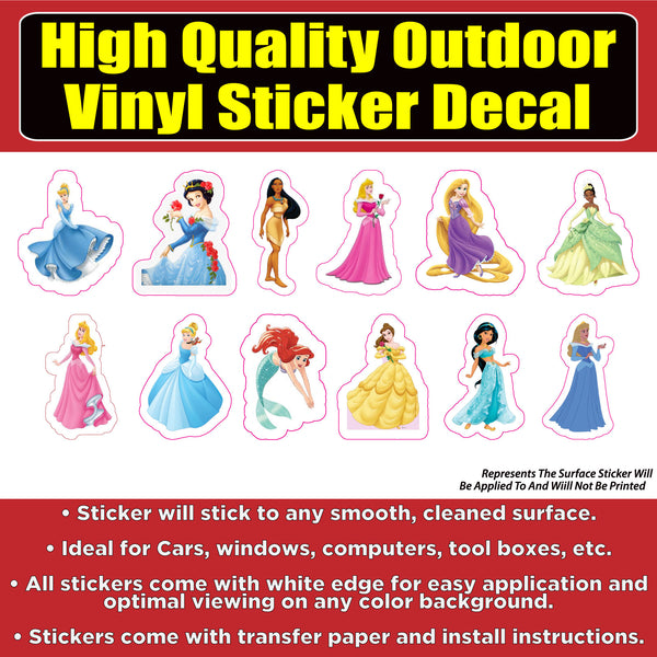 Disney Princess Characters Sticker Pack Vinyl Car Window Laptop Bumper Sticker Decal