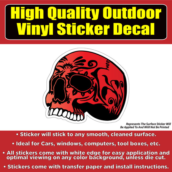 Red skull Vinyl Car Window Laptop Bumper Sticker Decal