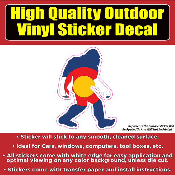 Sasquatch Yeti Big Foot Colorado Flag Vinyl Car Window Laptop Bumper Sticker decal
