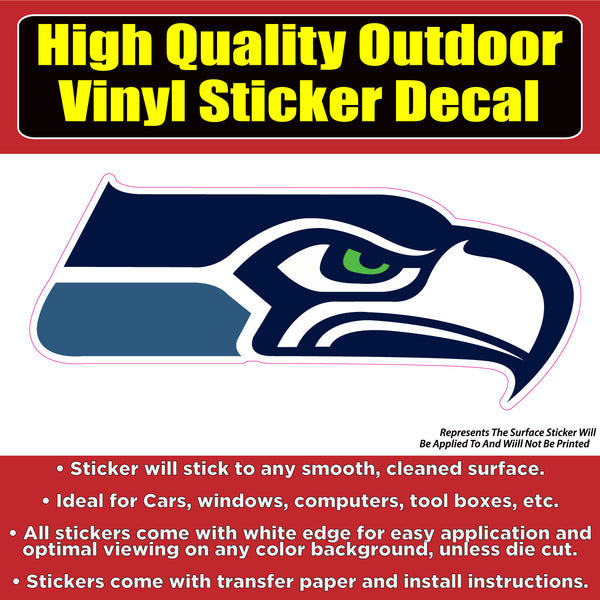 Seattle Seahawks Football Vinyl Car Window Laptop Bumper Sticker Decal