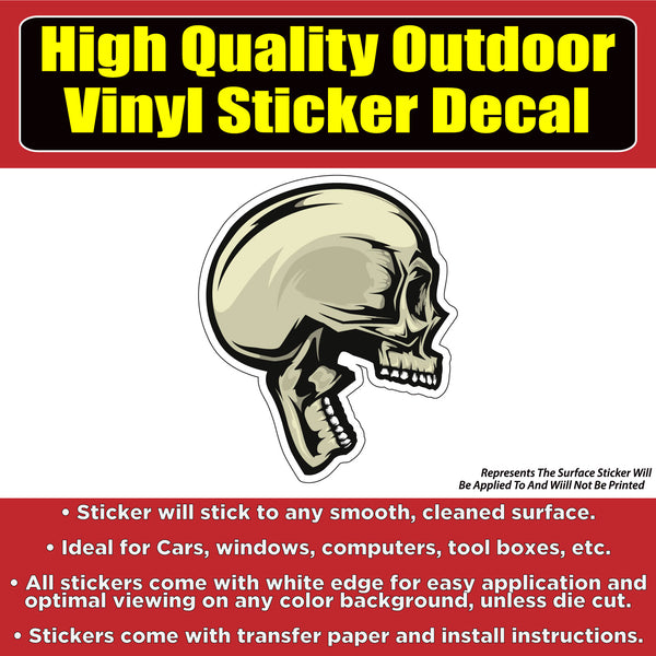Side view Screaming Skull Vinyl Car Window Laptop Bumper Sticker Decal