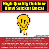 Melting Smiley Face Vinyl Car Window Laptop Bumper Sticker Decal