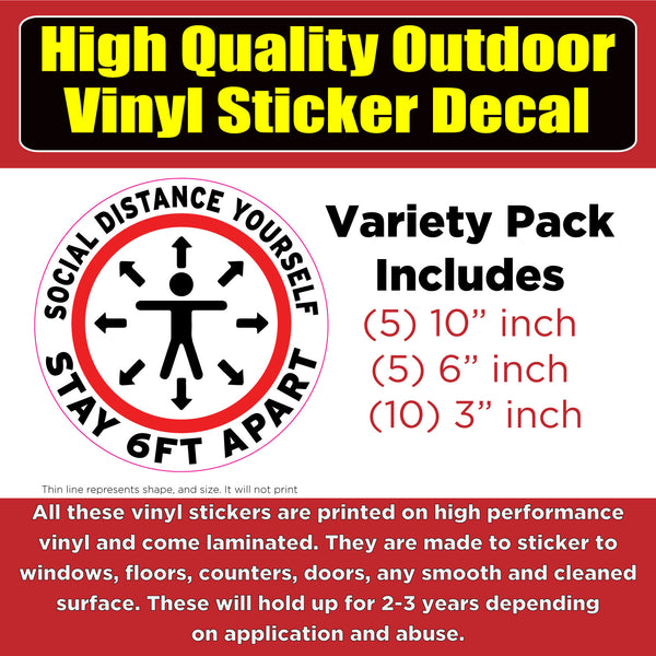 Social Distance Yourself 6ft -Vinyl Business Window Door Floor Sticker Decal