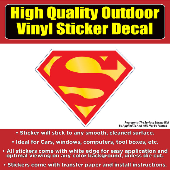 Superman Comic S Shield Vinyl Car Window Multi-use Bumper Sticker Decal - Colorado Sticker