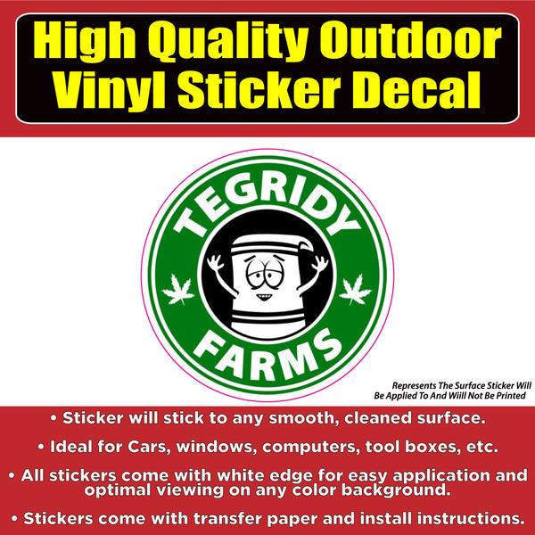 Tegridy Farms South Park Character Vinyl Indoor Outdoor Waterproof Window Decal
