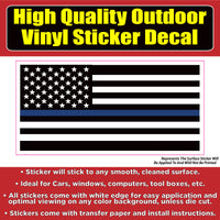 American US Flag Thin Blue Line - Blue Lives Matter Vinyl Car Window Bumper Sticker