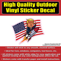 Donald Trump Rocket Flag Vinyl Car Window Laptop Bumper Sticker Decal