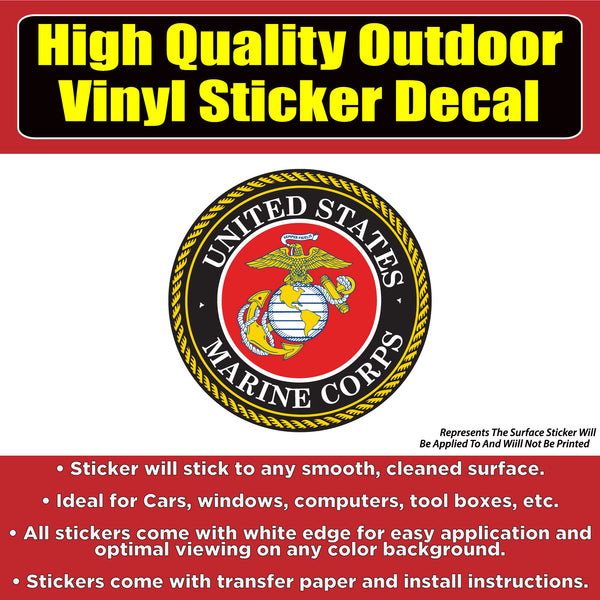 United States Marine Corps Vinyl Car Window Laptop Bumper Sticker Decal