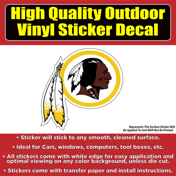 Washington Redskins Vinyl Car Window Laptop Bumper Sticker Decal