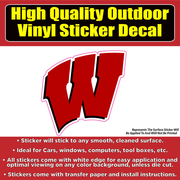 University of Winsconsin Badgers Vinyl Car Window Laptop Bumper Sticker Decal