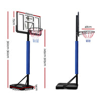 Everfit 3.05M Basketball Hoop Stand System Ring Portable Net Height Adjustable Blue - Kids Ride On Cars