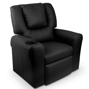 Kid's PU Leather Reclining Arm Chair - Black - Kids Ride On Cars