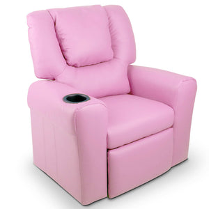 Kid's PU Leather Reclining Arm Chair - Pink - Kids Ride On Cars