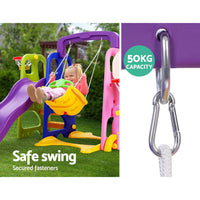 Keezi Kids 7-in-1 Slide Swing with Basketball Hoop Toddler Outdoor Indoor Play - Kids Ride On Cars