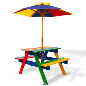 Kids Wooden Picnic Table Set with Umbrella - Kids Ride On Cars