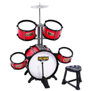 Keezi Kids 7 Drum Set Junior Drums Kit Musical Play Toys Childrens Mini Big Band - Kids Ride On Cars