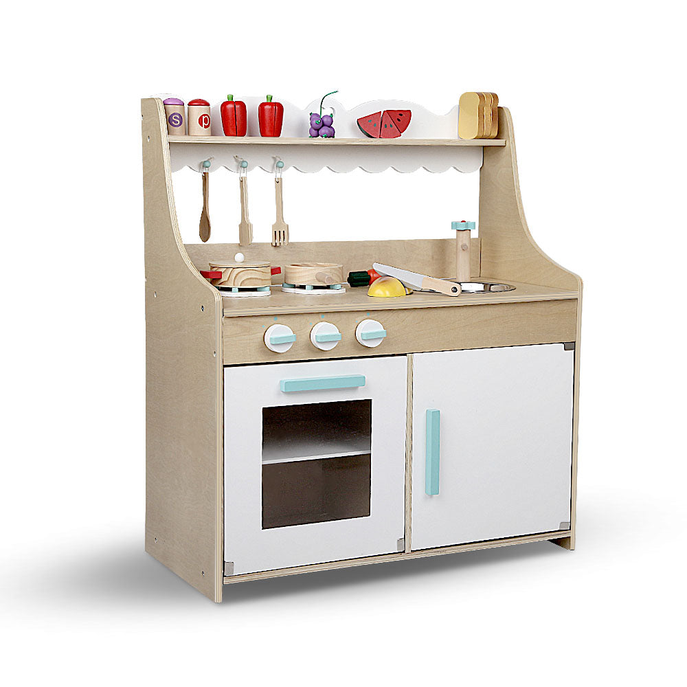 Keezi Kids Wooden Kitchen Play Set - Natural & White - Kids Ride On Cars