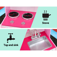 Keezi Kids Kitchen Set Pretend Play Food Sets Childrens Utensils Toys Pink - Kids Ride On Cars
