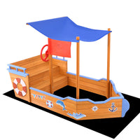 Keezi Boat Sand Pit With Canopy - Kids Ride On Cars