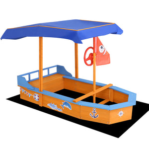 Keezi Boat-shaped Canopy Sand Pit - Kids Ride On Cars