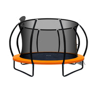 12FT Trampoline With Basketball Hoop - Orange - Kids Ride On Cars