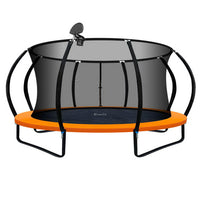 14FT Trampoline With Basketball Hoop - Orange - Kids Ride On Cars