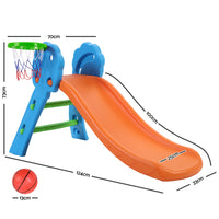 Keezi Kids Slide with Basketball Hoop Outdoor Indoor Playground Toddler Play - Kids Ride On Cars