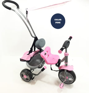 Steerable Tricycle With Canopy - Kids Ride On Cars