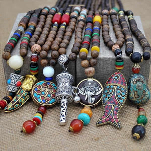 Handmade Nepal Mala Wood Beads Necklace & Pendant. Free shipping!