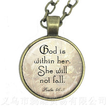 God Is Within Her, She Will Not Fall 25mm Round Glass Cabochon Pendant Necklace