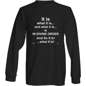 "New Thought Market EXCLUSIVE! ""It Is What It Is...DIVINE ORDER"" Long Sleeve T-Shirt. FREE SHIPPING!"