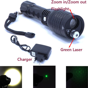 2016 new 2 in 1 Flashlight and green laser zoomble high power led flashlight laser Pointer  with Charger