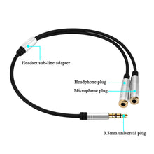 Y Shape 3.5mm Male to 2 Female Cable Connector Adapter Splitter with Separate Microphone Audio Headphone Jack for Phone Computer PC Tablet