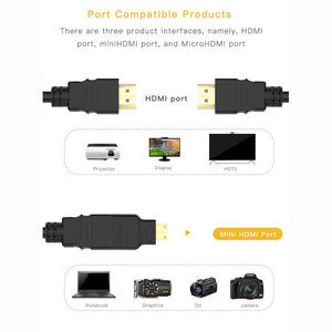 1.5M 3 in 1 HDMI To To Mini/Micro HDMI Adapter Cable For HDTV Projector Nokia N8 /For PS4/PC/TV /Mini HDMI Digital Camera/Tablet