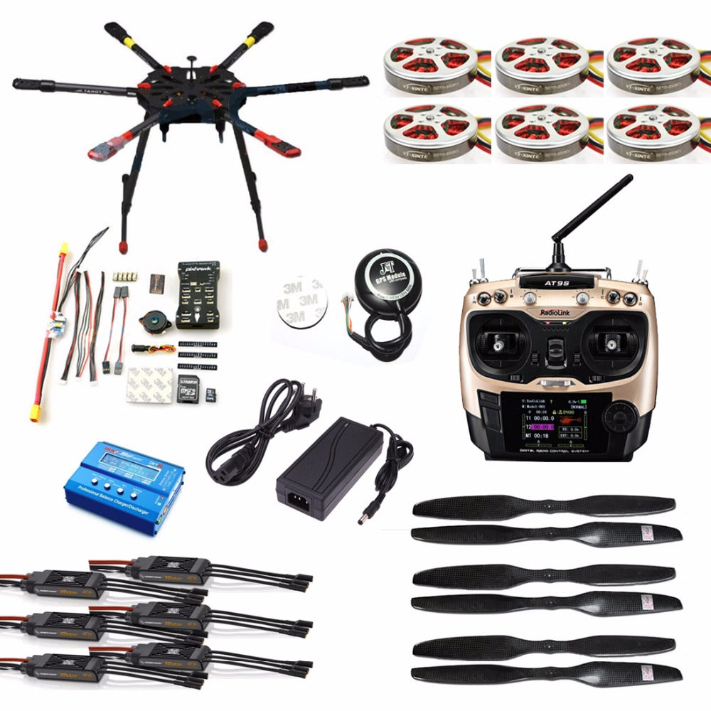 Full Set Hexacopter GPS Drone Aircraft Kit Tarot X6 6-Axis TL6X001 PX4 32 Bits Flight Controller Radiolink AT9S TX&RX F11283-C