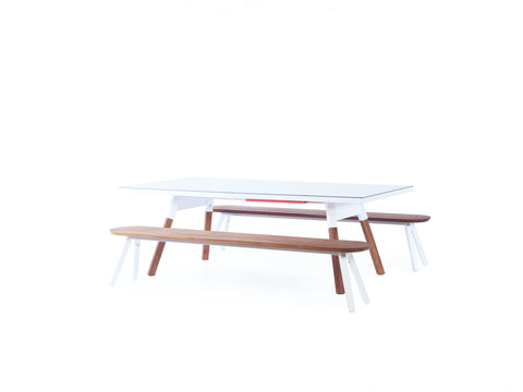 Kit 2 Units 220 Iroko White You and Me Bench by RS BARCELONA - RS BARCELONA - luxebackyard