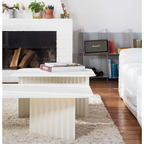 RS Barcelona Plec Coffee Table, White, Large, Steel - RS BARCELONA - luxebackyard